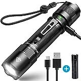 1000 Lumen BYBLIGHT F18 Taktische LED Taschenlampe, USB AUFLADBAR, IP67 Wasserdicht, HOCHLEISTUNG...