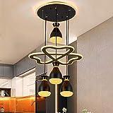 YUN Clock Moderne LED Pendelleuchte Esstisch 136W LED 4 Köpfe LED Dimmbar Fernbedienung...