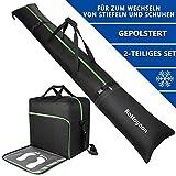 Rottogoon Gepolsterte Skisack und Schuhtasche Combo-Skischuh-Reisetasche,Für Skier bis 200 cm und...
