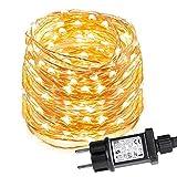 LE 12M LED Lichterkette Draht aus Kupferdraht, 100 LEDs, Wasserdicht IP65, Strombetrieben, ideal...