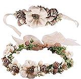 Blumenkranz Haare und Arm, Haarschmuck Hochzeit Blumenstirnband Blumenkrone mit Armband für Strand...