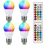 iLC Glühbirne mit Fernbedienung, Äquivalent 40W, Farbwechsel Farbige Leuchtmittel LED Lampe Edison...