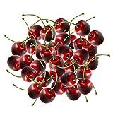 EQLEF Deko Obst Lebensecht, Kirschen Künstlich Obst Deko Plastik Künstliche Früchte Set für...