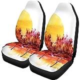 Olive Croft 2PCS Autositzbezüge Rot Burgund Silhouette der Bäume gegen Sonnenuntergang...