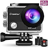 Crosstour CT9000 Action Cam Unterwasserkamera (4K 20MP WiFi Unterwasser 40M Wasserdicht Helmkamera...