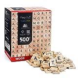 Magicfly Fliesen, 500 Stück Buchstaben zum Spielen Buchstaben aus Holz Fliesen mit Zahlenwerten zum...