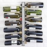 HJWL Weinregal Edelstahl Rotweinregal 12 Flaschen Wein Freistehender Weinflaschenhalter Wandmontage...