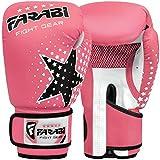 Farabi Kids Boxing Gloves 6-oz Kick Boxing Training Muay Thai, Age 4-9 Year Old (Pink)