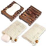 Yosemy 2 Stück Seifenschale Holz Dusche,2 Stück Seifensäckchen,Natürliche Bambus Seifenkiste,Bio...