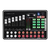 EXCLVEA Mischpult Bluetooth Live Sound Card Gaming Broadcast External Mixer Headset Mikrofon für...