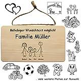 Familienschild aus Holz, personalisiert mit Nachnamen und Vornamen der Familie + lustigen Sprüchen...