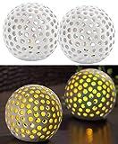 Lunartec Leuchtkugel Keramik: Kabellose LED-Dekoleuchten aus Keramik im 2er-Set (LED Keramikkugel)