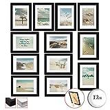 bomoe 12er Set Bilderrahmen Ocean Bilder-Collagen Fotorahmen aus Holz, Plexiglas,...