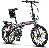 Licorne Bike Phoenix, 20 Zoll Aluminium-Faltrad-Klapprad, Faltfahrrad-Herren-Damen, 7 Gang Shimano...