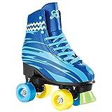 Zweireihige Schlittschuhe Roller Boys und Girls, Blue Youth Quad Rink Skate für Kinder Jugendliche...