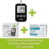 Adia Vorteilspack Blutzuckermessgerät-Set (mg) + 50 Blutzuckerteststreifen + 100 Lanzetten zur...