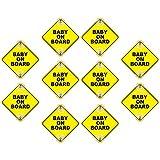 Jxfrice 10 Stück Baby on Board Saugnapf Magnet reflektierend für Autos, wiederverwendbar,...