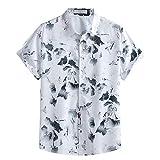 Kurzarm Poloshirt Herren Weiß mit Print Sommer Mode Revers Druck Shirt Top Bluse Casual...