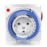 Mechanische Zeitschaltuhr - 24 Stunden Anaolg Timer - Steckdosen-Schaltuhr - Zeitprogrammstecker mit...