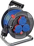 Brennenstuhl Garant Kompakt IP44 Kabeltrommel (15m Kabel in blau, Spezialkunststoff, kurzfristiger...