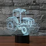 neon Sign led Traktor 3D Lampe Led Nachtlampen 7 Farbwechsel 3D LED Lichter Geburtstagsgeschenk...