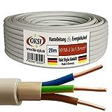 OKSI 20m NYM-J 3x1,5 mm² Mantelleitung Feuchtraumkabel Elektrokabel Kupfer Made in Germany