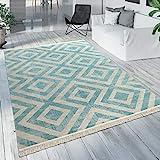 Paco Home Outdoor Teppich Blau Weiß Balkon Terrasse Rauten Muster Skandinavisches Design,...