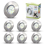 6 x 5 W LED-Einbauleuchten, IP44, Badstrahler, integriert, ultradünn, 240 V, kaltweiß, 6000 K,...