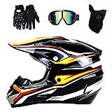 Motocross-Motorradhelm für Erwachsene mit Brillenmaskenhandschuhen, Profi-Crosshelm,...