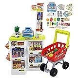deAO SPMW Kinder-Supermarkt-Spielset mit Einkaufswagen und über 20 Spiel-Lebensmittel-Zubehör,...