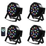 LED PAR Licht 54W 18LEDs RGB 7 Beleuchtung 4 STÜCK Modi Disco Lichteffekte dj party Licht...