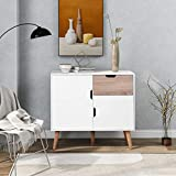 TETHYSUN Kommode Mit Schubladen, Sideboard mit 1 Schublade & 2 Türen, Schrank für Schlafzimmer...