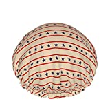 Patriotic Stars Badekappe mit roten Streifen, doppelschichtig, wiederverwendbar, für Damen und...