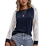 Casual Fashion Damen Rundhals Einfarbig NäHte Hohle Spitze Langarm T-Shirt Lose Pullover Bluse...