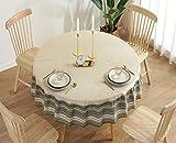Runde Tischdecke, abwischbare Tischdecke Durchmesser 150cm Küche Esstisch Garten Khaki Spitze...