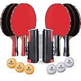 Tischtennis Set, Tischtennisschläger-Set für 4 Spieler, Tischtennisschläger-Set mit einziehbarem...