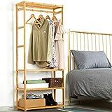 VIAGDO Kleiderständer Bambus Garderobenständer Garderobe mit 4 Ablage und Kleiderstangestab,...