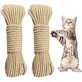 2 Stück Katzen Zubehör Sisalseil Seil für Katzenbaum Natural Sisal Seil Katzen Zubehör Kratzbaum...