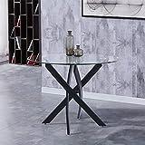 GOLDFAN Esstisch Glas Küchentisch Rund Glastisch Moderner Tisch Wohnzimmertisch mit Schwarze Beine...