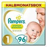 Pampers Premium Protection Windeln, Gr. 1, 2-5kg, Halbmonatsbox (1 x 96 Windeln), Pampers Weichster...