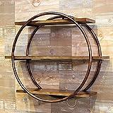 Hclshops Regal aus Schmiedeeisen, rund, aus Massivholz, Vintage-Bücherregal, Maße: L 80 x B 15,5 x...