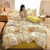 GAOXUE Bettbezug aus Baumwolle,King Fleece Bettwäsche Set, Daunendeckenbezug, warme Kristall Fleece...