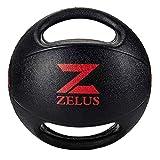 ZELUS Medizinball Gummimedizinball mit Handgriffen Fitnessball Gewichtsball Gymnastikball Dual Grip...