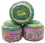 Sweet Roll 3 x 140 Gramm Himalaya Strickwolle mit Farbverlauf, 420 Gramm Wolle Mehrfarbig,...