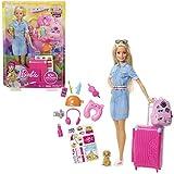 Barbie FWV25 - Reise Puppe mit blonden Haaren inkl. Reisezubehr und Hndchen, Puppen Spielzeug und...