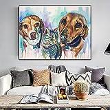 Leinwand Malerei Aquarell Tier Poster und Drucke Hunde Katze Wandbild Wohnzimmer Home Decoration No...