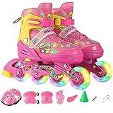 Kinder Inline Skates einreihig Skating-Schuhe, Anfänger Breath Roller Skates, Größe einstellbar...