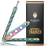 Majesty Forest® Butterfly Trainer - Mit E-Book zum Tricks Lernen - Balisong Trainer im Rainbow...