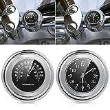 Wasserdichte Universal-Uhr und Thermometer für Motorrad-Lenker von 2,2 cm bis 2,5cm (7/8Zoll...