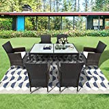Leisure Zone Polyrattan Sitzgruppe Sitzgarnitur Essgruppe Esstisch Lounge Set Gartenmöbel Set...